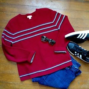 Red Christopher & Banks Striped Sweater